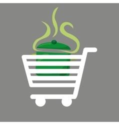 Shopping cart food delicious soup vector