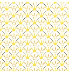 Simple seamless pattern with crown and line Orange vector