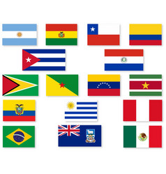South american flag set vector
