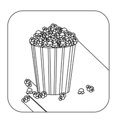 Square shape with silhouette box with pop corn vector