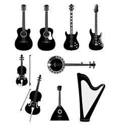 Stringed musical instruments black outline vector
