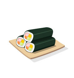three sushi roll on wooden plate isolated vector image