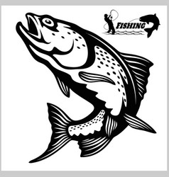 Trout fish - logo fishing emblem vector