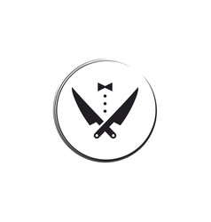 Tuxedo and knife for restaurant logo design vector