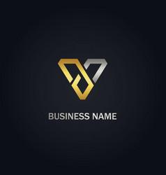 V initial triangle company gold logo vector