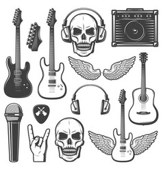 Vintage rock music elements set vector