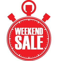 Weekend sale red stopwatch vector