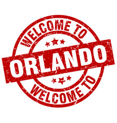 Welcome to orlando red stamp vector
