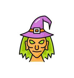 Witch in pointed hat with token head face portrait vector