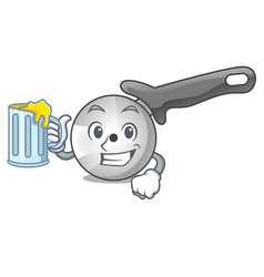 With juice pizza cutter cartoon in the kitchen vector
