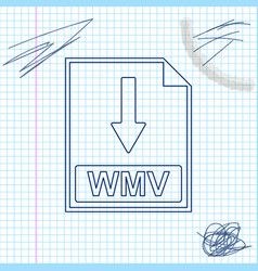 wmv file document icon download wmv button line vector image