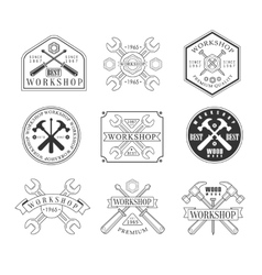 Wood Workshop Black And White Emblems vector