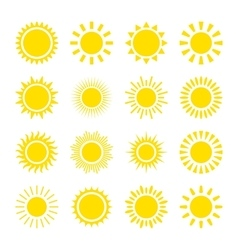 Yellow sun icons vector