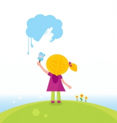 artist kid painting on sky vector image vector image