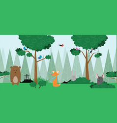 baby forest card design with friendly animals vector image vector image