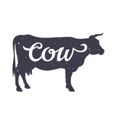 cow silhouette 006 vector image