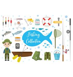 fishing icon set flat cartoon style fishery vector image vector image