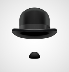 gentleman with small moustaches and bowler hat vector image vector image