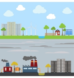 Industrial and eco city concept vector image vector image