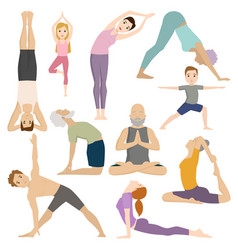 People work out in fitness club yoga classes vector