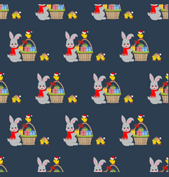 rabbit and chicken pattern vector image