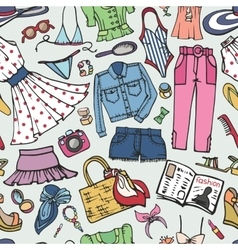 Sammer fashion seamless patternWoman colored wear vector image vector image