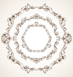 set of circle vintage sepia frames vector image vector image