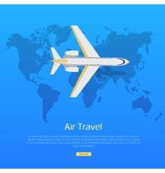 Air Travel Concept Plane on World Map Web Banner vector image vector image