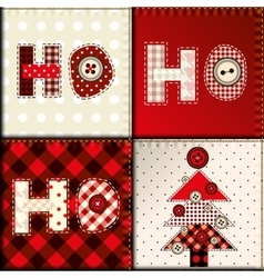 Christmas patchwork pattern vector image vector image