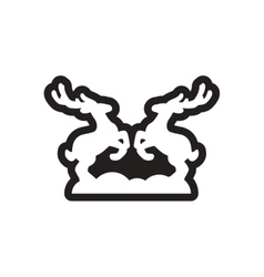 Flat icon in black and white deer vector image vector image