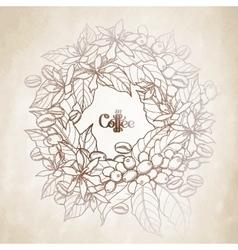 Graphic coffee wreath vector