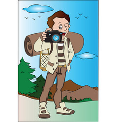 happy man photographing vector image vector image