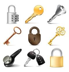 Keys and locks icons set vector image vector image