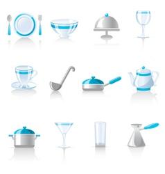 kitchen utensil icons vector image