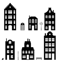 Set of houses silhouettes on white background vector image
