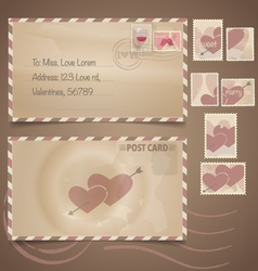 Vintage postcard background and Postage Stamps - vector image