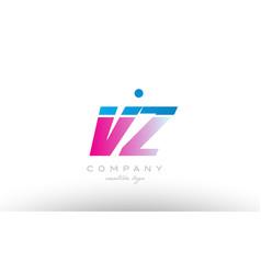 vz v z alphabet letter combination pink blue bold vector image vector image