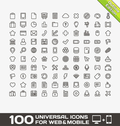 100 Universal Icons For Web and Mobile vector image