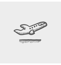 Airplane takeoff sketch icon vector image