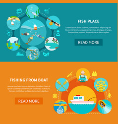 Floater fishing banners set vector