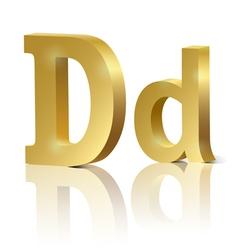 Golden letter d vector