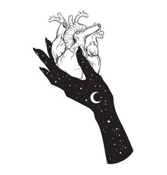 human heart in hand of universe black work vector image vector image