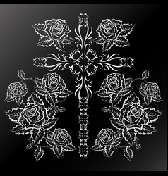 roses and cross silhouettes vector image