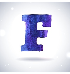 Watercolor letter F vector image vector image