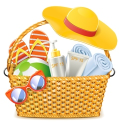 Wicker Basket with Beach Accessories vector image vector image