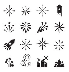 firework icons set 2 vector image