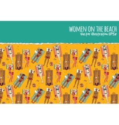 Group women beach water sea summer rest color vector image