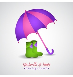 Opened bright umbrella and rain boots vector image