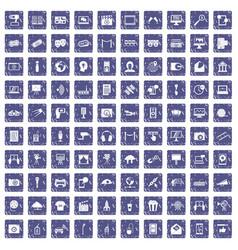 100 multimedia icons set grunge sapphire vector image