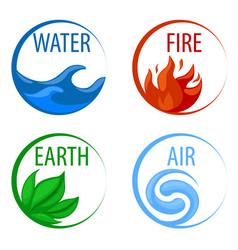 4 elements nature icons water earth fire air vector